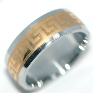 Mens Jewelry Man Ring Stainless Steel Band Rings Gold&Silver Tone HipHop Size 9