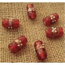 10 Handmade Indian Lampwork Perles De Verre ~ 22 mm Red Tube ~ 22