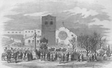 TRIESTE. Funeral procession Don Carlos cath. St Just. Spain, antique print, 1855