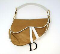 Christina Dior Handbag Leather Tan Beige & White Saddle Bag Gold Hardware