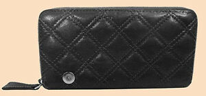 MARC Marc Jacobs THE DELUXE Grey Quilted Leather Zip Around Wallet Msrp $425.00