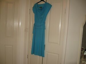 Ladies Dress Design ARC Sydney Size 12  No Sleeves Turquoise Blue Polyester