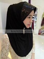 Women Muslim Sequins Plain Cotton Caps Islamic Shawls Hijab Arab Scarf Hat