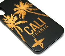 for iPhone X / XS - CALIFORNIA PALM TREE REAL WOOD BLACK RUBBER ARMOR CASE COVER