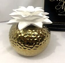 Porcelain Oil Diffuser Poinsettia Gold White Inspire Me With Fragrance Oil