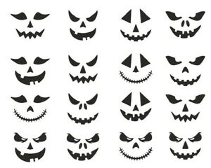 16 Small Jack O Lantern Stickers for Wine Glasses Mugs Cups Halloween Spooky