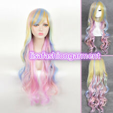 Women Costume Long Curly Rainbow Unicorn Gothic Lolita Cosplay Drag Race Wig