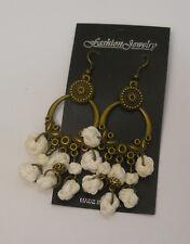 Women White Monkey Knot Earrings Drop Dangle Gold Tones Hook Fasteners FASHION
