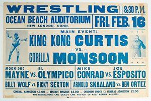 Vintage 1973 WWWF Wrestling Event Poster King Kong Curtis Gorilla Monsoon