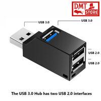 3 Port USB Hub Mini USB 2.0 3.0 High Speed Hub Splitter Box For PC Laptop U Disk