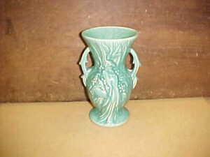 Vintage Marked McCoy Green Bird Decorated Vase-Nice