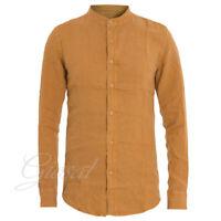 Camicia Uomo Collo Coreano Tinta Unita Senape Lino Maniche Lunghe Casual GIOSAL