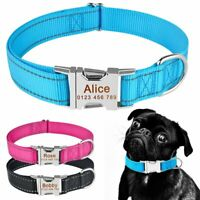 Reflective Personalized Dog Collar Puppy Pet Cat Custom Name Collar ID Tag S M L