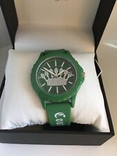 Juicy Couture Black Label Womens Glitter Crown Silicone green Watch NEW