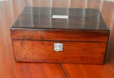 Wooden Deed Jewellery Sewing Box Mother of Pearl Inlay Vintage with Key