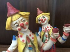 "Vintage Wine Drinking Clowns Hobo 7"" Clown Figurine Made in Italy"