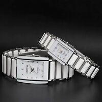 Waterproof Mens & Womens Ceramics Band Rectangle Crystal Quartz Wrist Watches