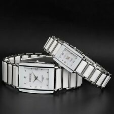 Waterproof Mens & Womens Ceramics Band Rectangle Crystal Quartz Wrist Watches