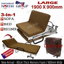 NEW 900mm DELUXE 3-in-1 SOFA RECLINER, FOLDING BED CONVERTIBLE 80mm MATTRESS