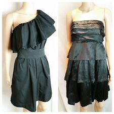 COUNTRY ROAD  Dress 6 Silk Tiered + PORTMANS Jet Black One Shoulder Party Club