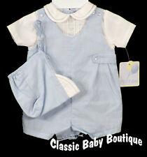 NWT Petit Ami Boys Blue Gingham Romper Hat Newborn Baby Jon Jon NB