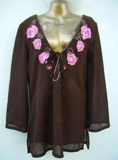 GEORGE Embellished Sheer Kaftan Top Size 8 Chocolate Beach Cover Up WORN ONCE