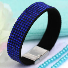 BLUE DIAMANTE CRYSTAL BRACELET CUFF MAGNETIC CLASP