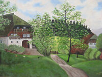 '40s KARL STIELER (German 20th Cent) Painting BAVARIAN ALPINE FARM w CHICKENS