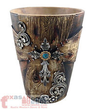 Western Rustic Cross Waste Basket Silver Scrolls Embedded Rhinestones Wood Look