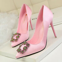 Rhinestone High Heels Shoes Party Wedding Women Pumps Heels Dress Shoes GWS064