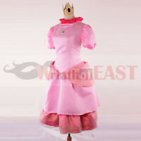 Adult Women Deluxe Princess Peach Costume Halloween Party Cosplay Fancy Dress