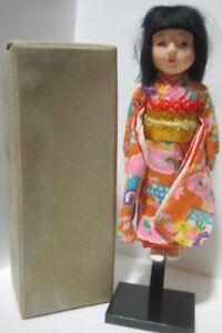 "Old 8"" Composition Glass Eyed Japanese Doll in Box - Asakusabashi Tokyo"