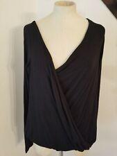Betabrand Faux Wrap Top Sz XL Black Asymmetrical Blouse Black Womens New