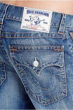 True Religion Men Jeans Straight Fit Flap Pockets Orange Stitch Denim Blue 38x33