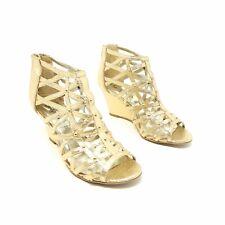 New Look Gold Gladiator Wedge Heels Shoes UK 5 EU 38 Open Toe Back Zip