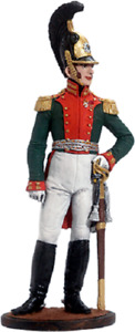 Painted Tin toy soldier 54mm. Colonel of The Dragoon Life guards. Russia