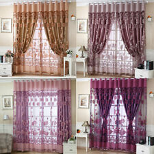 Modern Floral Tulle Voile Door Window Curtains Drapes Panels Sheer Home Valances