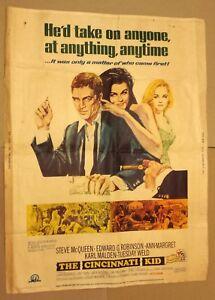 "The Cincinnati Kid 1965 Vintage Poster 30"" x 40"" Steve McQueen Rare!"