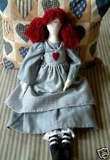 PRIMITIVE FOLK ART SEWING PATTERN 'MATILDA'  RAG DOLL & HEARTS CUSHION