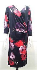 Artigiano 3/4 Sleeve Crossover Top Floral Dress Black/multi - 18