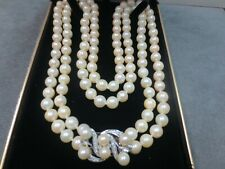 """Vtg Double Stand Pearl Necklace w/ 14K White Gold Diamond Pearl Clasp / 22-23.5"""""""