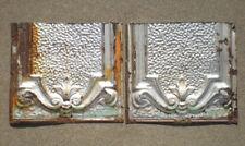 SALE 2 Antique Ceiling Tin Tiles Frame Fleur De Li Shabby Chic Cottage Canvas