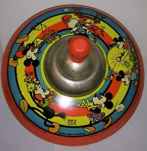 Disney  Mickey and Gang Enterprises Spinning  Tin whistling Top museum quality