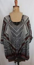 ESTELLE ~ Black & White Geometric Satin Blousson Style V-Neck Blouse Top 18