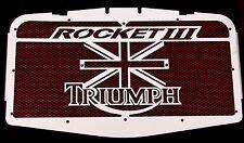 """cache / Grille de radiateur inox Triumph Rocket3 """"Union Jack"""" + grillage rouge"""