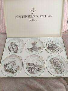 6 x Fürstenberg Porzellan Untersetzer Wandteller Sammelteller Stadt Flensburg