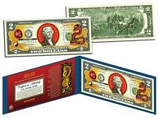 Chinese Zodiac YEAR OF THE SNAKE Colorized $2 Bill US Legal Tender Lucky Money