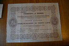 ANTICO DOCUMENTO BANCA D' ITALIA OBBLIGAZIONE 20 LIRE 1905 PRESTITO A PREMI