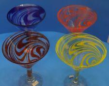 Martini Swirl Glasses, Mexican Glass, Hand Blown, Set of 4
