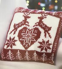 Cx8 - Knitting Pattern - Christmas Rudolph Nordic Scandinavian Cushion